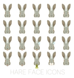 Set of Hare faces vector image vector image