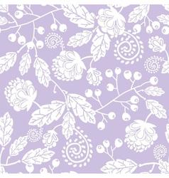 Purple line art flowers seamless pattern vector image vector image