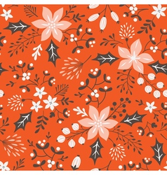 Red floral Christmas pattern vector image vector image