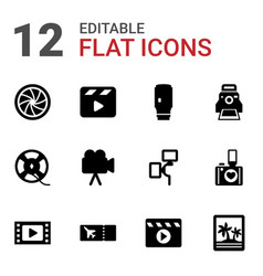 12 film icons vector image