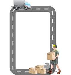 A border design with a delivery truck and a vector