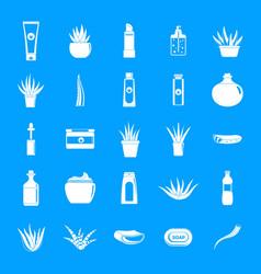 aloe vera plant logo icons set simple style vector image