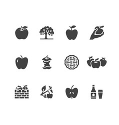 Apples flat glyph icons apple picking autumn vector