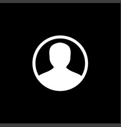avatar flat icon on black background black style vector image