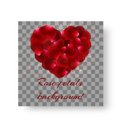Background with bright red rose petals vector