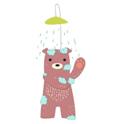 bear bathing vector image