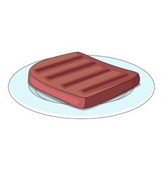 Beef steak on a plate icon cartoon style vector