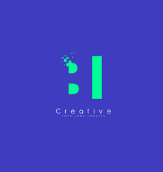 Bi letter logo design with negative space concept vector