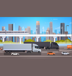 Big cargo truck trailers on highway road with cars vector