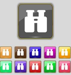 Binocular search find information icon sign set vector