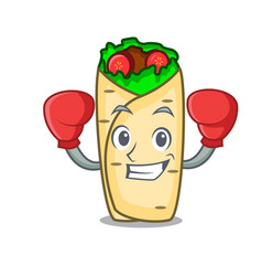 Boxing burrito character cartoon style vector