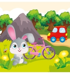 Bunny With Bicycle Near Mountain vector image