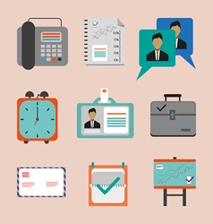 Business icons set flat style Digital image vector image