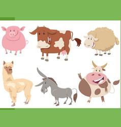 cartoon funny farm animal characters set vector image