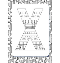 cartoon letter x drawn in the shape of house vector image