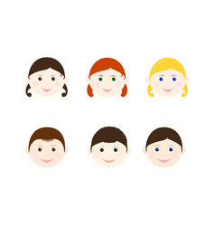 children heads set vector image