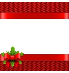 Christmas background with bow and holly berries vector image