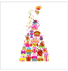 Christmas Greeting Card Colorful Present vector image