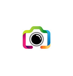 Creative colorful camera line logo design symbol vector
