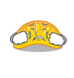 Crying orange jelly candy mascot cartoon vector