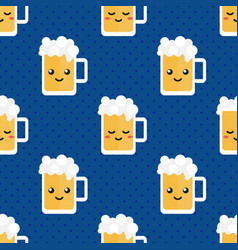 Cute glass of beer character seamless pattern vector