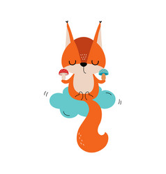 Cute red squirrel with bushy tail meditating on vector