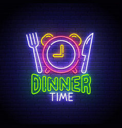 Dinner time neon sign dinner logo neon vector