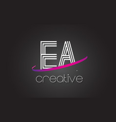 Ea e a letter logo with lines design and purple vector