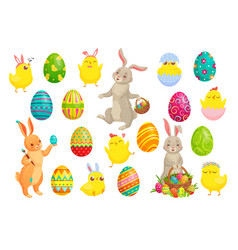 easter bunny eggs cute rabbit spring chicks vector image