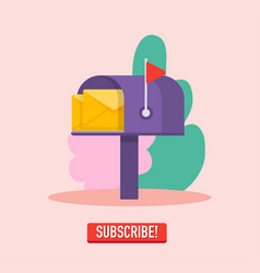 email subscribe mailbox and submit button online vector image