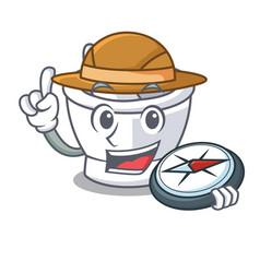 Explorer mortar mascot cartoon style vector