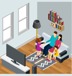 family home isometric composition vector image