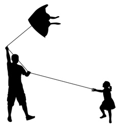 Father and daughter playing with kite vector