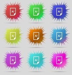 File AI icon sign A set of nine original needle vector