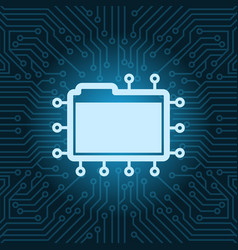 File folder icon over blue circuit motherboard vector