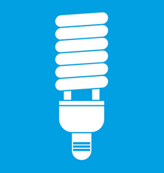 Fluorescent bulb icon white vector