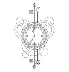 Geometric clock pattern vector image