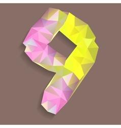 geometric crystal digit 9 vector image
