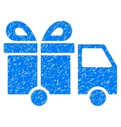 Gift Delivery Van Grainy Texture Icon vector