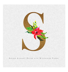Golden letter s watercolor floral background vector