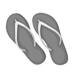 Green flip-flops icon in monochrome style isolated vector