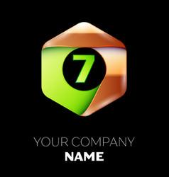 green number seven logo in golden-green hexagonal vector image