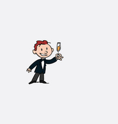 Groom toasting happy vector