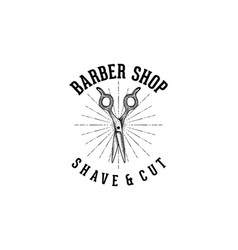 hand drawn scissor vintage barber shop logo vector image