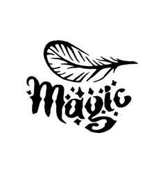 Hand drawn witch and magic feather item vector