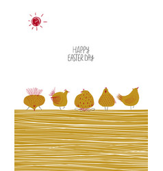 happy easter greeting card with chickens vector image