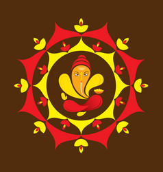Happy ganesha chaturthi greeting design vector