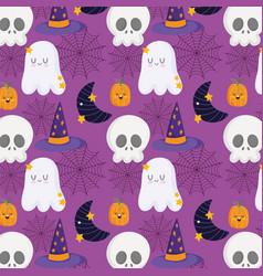 happy halloween skull pumpkin hat moon and ghost vector image