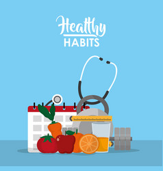Healthy habits lifestyle concept vector
