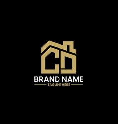 initial letter c and d with roreal estate vector image